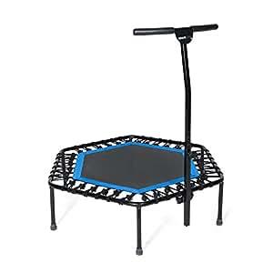SportPlus Fitness Trampolin, Bungee-Seil-System, Ø 110 cm, bis 130 kg Benutzergewicht, TÜV Süd Sicherheit geprüft, blau