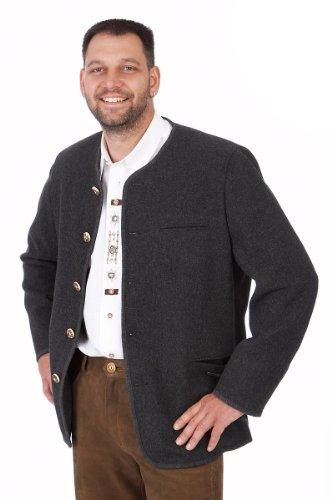 Orbis Textil Trachten Herren Janker - 230/Rundhals - anthrazit Größe 58