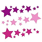 tjapalo® 24 Sterne Set Aufkleber auto Sterne Sticker Fenster Weihnachtsdekoration Baby Wandtattoo Kinder Autoaufkleber lila rosa pink