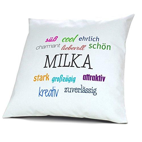 Kopfkissen mit Namen Milka - Motiv Positive Eigenschaften, 40 cm, 100{3b0bffc45af1f8cb858f776e59011dc4a0fc84a164e0aff6db747206e81ea827} Baumwolle, Kuschelkissen, Liebeskissen, Namenskissen, Geschenkidee, Deko