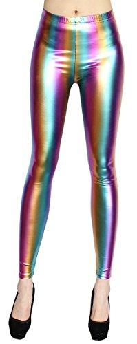 gings Damen Regenbogen Shiny Leggins - JL057 (JL057-Rainbow | Gr. 38-40) ()