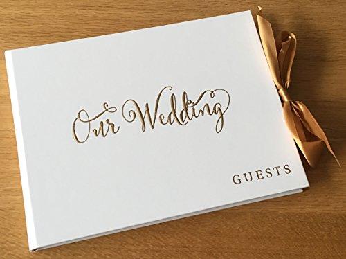 Libro degli ospiti per matrimoni, bianco con nastro dorato