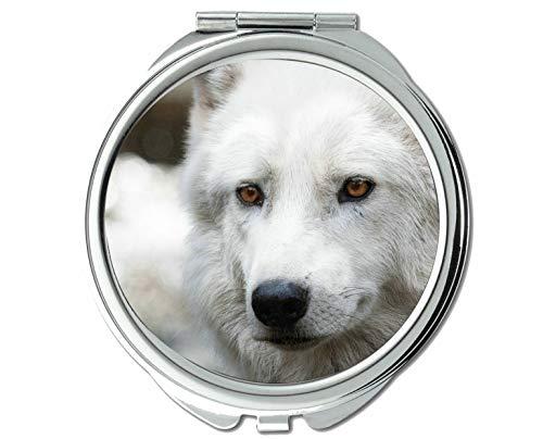 Yanteng Spiegel, Taschenspiegel, Animal Wolf Aufkleber Taschenspiegel, 1 X 2X Vergrößerung (Hundefutter Aufkleber)