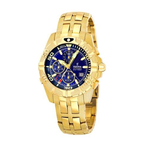 FESTINA F16119/2 - Reloj de caballero de cuarzo, correa de acero inoxidable color oro (con alarma)