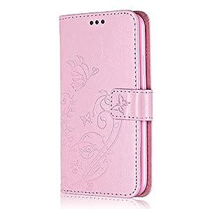 Bear Village® Brieftasche Hülle für Huawei P8 Lite, Premium Leder Flip Schutzhüllem Huawei P8 Lite Multifunktion Klappständer Schützthülle mit kartenfächern (#1 Rosa)