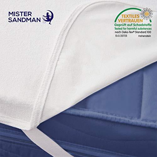 Mister Sandman wasserdichte Matratzenauflage für effektive Betthygiene - atmungsaktiver und pflegeleichter Matratzenschoner für den Matratzenschutz, 90 x 200 cm 2er Set Polyester-Oberfläche