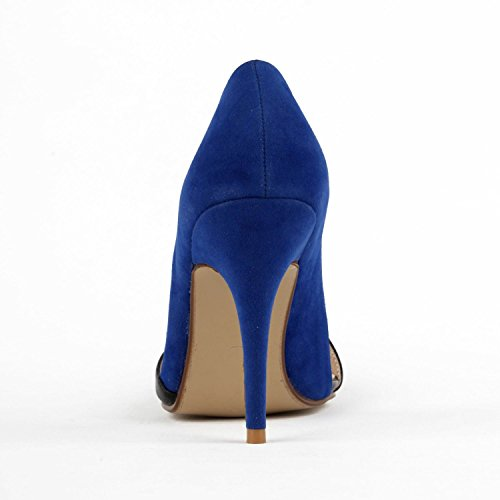 Miyoopark , Sandales Compensées femme Blue/Black-9.5cm Heel