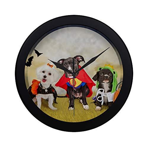 Moderne einfache drei nette kleine Welpen-Hunde gekleidet Stockfoto Muster-Wanduhr-nicht ticktender stiller Quarz-ruhige Sweep-Bewegungs-Wand-Clcok für Büro, Badezimmer, Wohnzimmer Dekorativ 9,65 ()