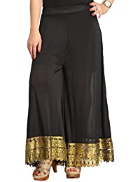 Black Sharara Dress For Girls & Women - Gold Foil Printed Lace Work At The Bottom - Wedding & Party Wear Sharara...