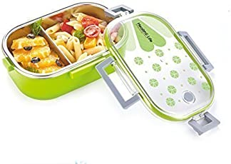 Clastik Kid's Stainless Steel Insulated School Lunch Box (Green,Transparent Lunch Box)