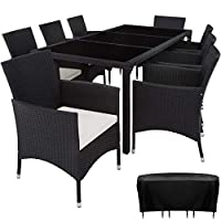 TecTake 8 Chairs + 1 Table Rattan Garden Furniture Set | Includes protection slipcover and stainless steel screws (Black | no. 402038)