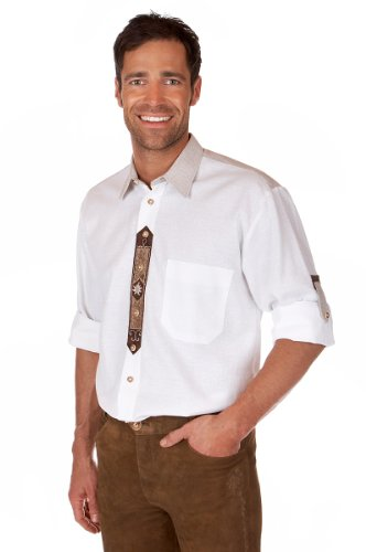 orbis Textil H061 - Trachten Hemd mit Krempelarm weiß Größe S