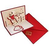 3D Pop Up Love della busta per biglietto d' auguri amore per mamma il suo lui con Scarlet e Love Kraft sticker per San Valentino, anniversario, regalo di compleanno per lei Handmade Craft origami