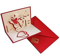Idea Regalo - 3D Pop Up Love della busta per biglietto d' auguri amore per mamma il suo lui con Scarlet e Love Kraft sticker per San Valentino, anniversario, regalo di compleanno per lei Handmade Craft origami