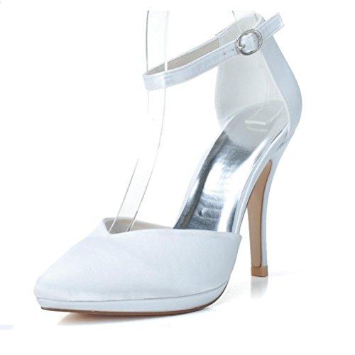 LEI&LIFermée orteil talons Prom boucle Satin des femmes mariage chaussures de mariée white
