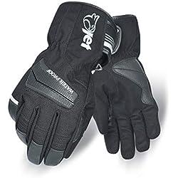 Jet Guantes Moto Motocicleta Invierno Impermeable Textil Detalles Reflectantes Protección de Nudillos AQUA TEX (2XL, Negro)
