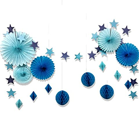 Set de Eventail Décoration Bleue Boules Alvéolée Deco en Papier avec la Chaîne d'Etoiles pour Mariage Party Anniversaire Baby shower Baptême