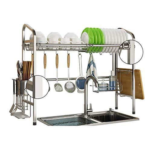 LHF Haushalt Küche Aufbewahrungsregal, über der Spüle Geschirrtrockner, Edelstahl Abtropffläche Display-Regal, Arbeitsplatte Space Saver Stand Geschirr Organizer mit Utensilienhalter,90 × 26 × 62 cm