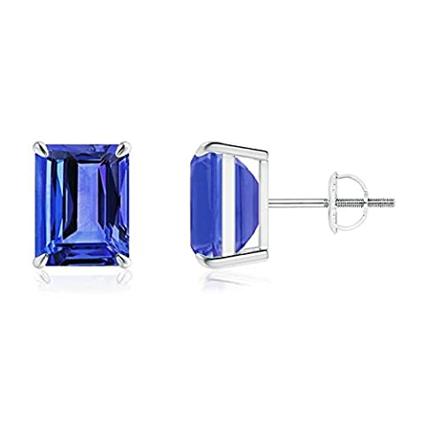 Claw Set Solitaire Emerald Cut Tanzanite Stud Earrings in 14K White Gold (9x7mm Tanzanite)