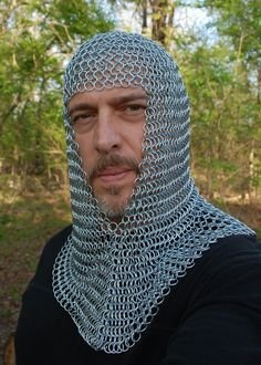 Butted Chain-mail Hood (V-neck) Zink Coif re-enactment / larp / role-play by ancientcraftstore