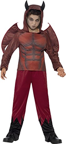 Jungen Halloween Fancy Scary Party Deluxe rot Teufel Kostüm Outfit Gr. M Alter 7-9, (Halloween Kostüme Für Kinder Scary Jungen)