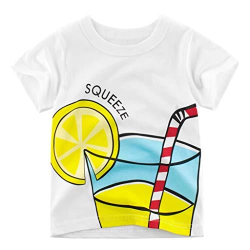 Julhold Kind Kinder Baby Jungen Niedlichen Cartoon Zitrone Getränke T-Shirt Tops 1 STÜCKE Outfits Kleidung Set 1-8 Jahre (Blouson Stück 1)
