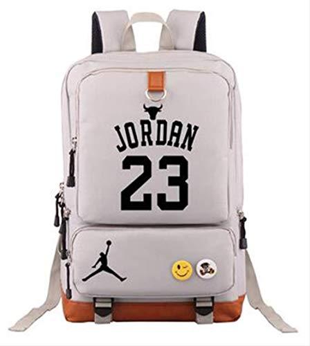 BUDIAN Rucksack Basketball-Spieler Rucksack Laptoptasche SchultascheJordan-Weiß (Basketball Jordan Tasche)