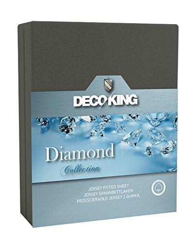 DecoKing 20647 Spannbettlaken 160 x 200 - 180 x 200 cm Jersey Baumwolle Spannbetttuch Diamond Collection, stahl