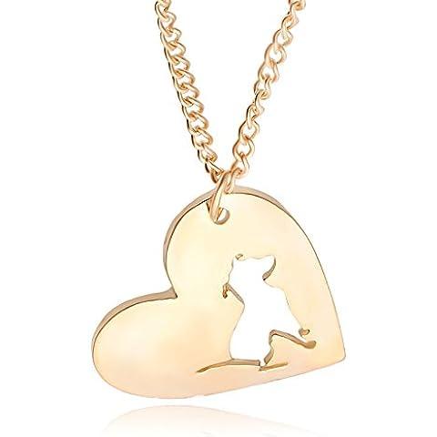 Pet accessori cane animale collana pendente a forma di cuore ciondolo cava , gold - Caduta Pendenti Una Luce