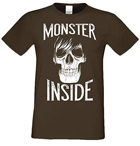 Halloween Herren T-Shirt Monster Inside Skelett Skull Totenkopf