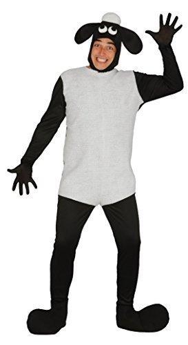 Herren Damen Schwarz Weiß Schaf Lamm Nutztier Festival Kostüm Kleid Outfit Größe (Erwachsene Kostüm Schaf Schwarzes Für)