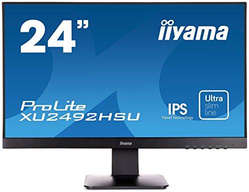 iiyama ProLite XU2492HSU-B1 A 60,5cm (23,8 Zoll) IPS LED-Monitor Full-HD (VGA, HDMI, DisplayPort, USB2.0, Ultra Slim Line) schwarz