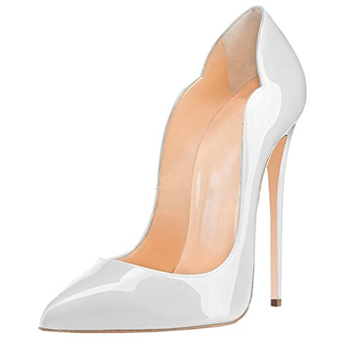 ENMAYER Femmes en Cuir Verni Haut Talon Robe Pompes Pointues Bureau Chaussures Stiletto Court Chaussures Plus Grande Taille Blanc