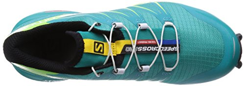 Salomon  Speedcross Pro, Chaussures de trail femmes Multicolore (Teal Blue F/Granny Green/White)