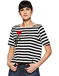Miss Chase Women's Black and White Patch Striped Top