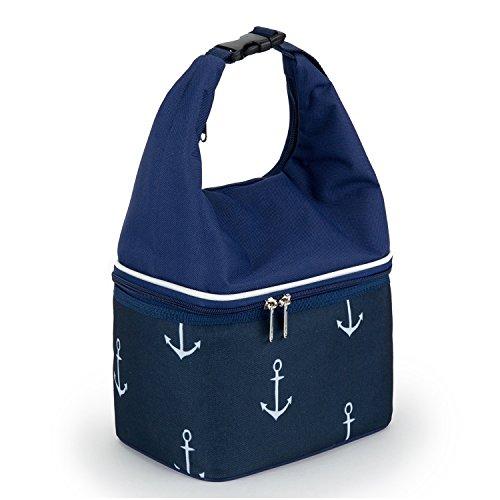 YONOVO Kühltasche Lunchtasche Isolierte für Picknick Büro Schule (Schnalle-Blau)