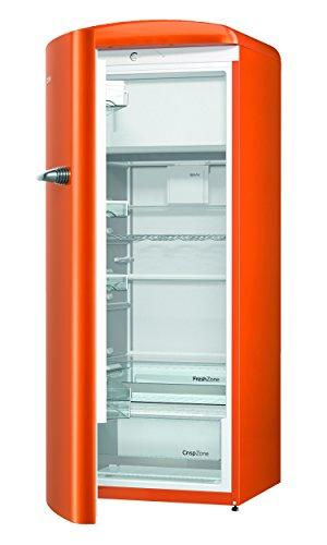 Gorenje ORB 153 O-L Kühlschrank mit Gefrierfach / A+++ / Höhe 154 cm / Kühlen: 229 L / Gefrieren: 25 L / Orange / DynamicCooling-System / LED Beleuchtung / Oldtimer / Retro Collection