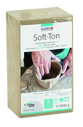 Glorex GmbH 6 8075 301 Soft Ton weiß 2500 g, lufthärtend oder brennbar (Polymer Clay Formen Prime)