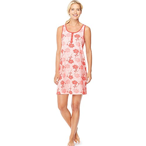 Hanes da donna Ultimate Henley Tank Sleepshirt Layered Floral