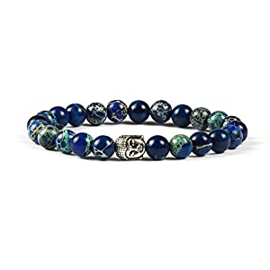 Good.Designs Buddha- Armband aus echten Natursteinen (spiritueller Schmuck) Chakra- Bracelet mit Edler Buddhismus Perle