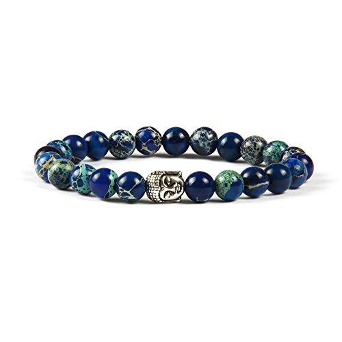 Good.Designs Buddhismus Perlenarmband aus echten Natursteinen und Edler Buddha-Kopf Perle, Chakra-Schmuck für Damen und Herren, Yoga-Bracelet (Jaspis Blau)