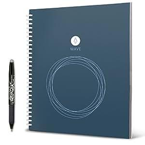Rocketbook Wave smarter wiederverwendbarer Notebook − Standard/Größe - lade Notizen mit der iOS-/Android-App hoch, leere dann alle Seiten in der Mikrowelle und starte neu