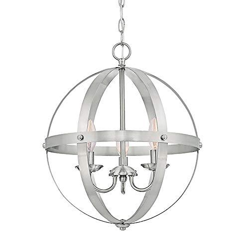 Schmiedeeisen Globe Cage Pendelleuchte Rustikale Metalldecke Hängeleuchten 15,6 Zoll Öl eingerieben Bronze Finish 3 leichte Pendelleuchten Leuchten,Nickel