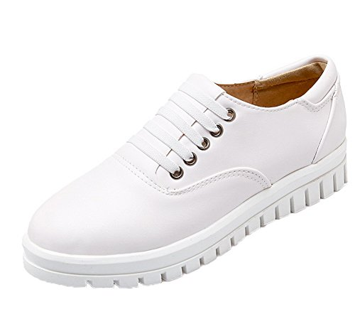 Voguezone009 Femmes Shimmer Talon Bas Bout Rond Pure Lace Up Ballerines Blanches