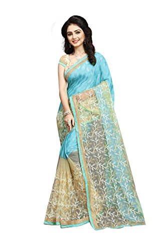 Orangesell Women's Softy Silk And Net Saree With Blouse Piece (S1031,Sky Blue...