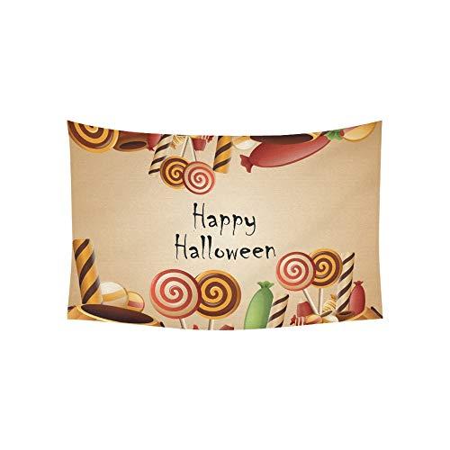 JOCHUAN Tapisserie Happy Halloween Karte Kürbisse Korb Candy Tapisserien Wandbehang Blume psychedelischen Tapisserie Wandbehang indischen Wohnheim Dekor für Wohnzimmer Schlafzimmer 60 X 40 Zoll