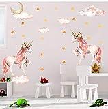 Sayala 2Piece Licorne Mignons Sticker Muraux- Licorn et Étoiles Amovible Sticker Muraux Autocollants Muraux Mural Stickers Chambre Enfants Bébé Garderie Salon