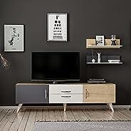 طاولة تلفزيون برفوف جدارية من برافو - متعددة الالوان، الحجم: 45 سم × 160 سم × 32 سم