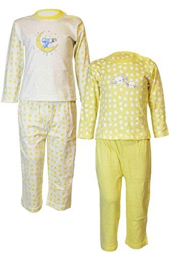 Klein Kinder Schlafanzug Pyjama 2 Stück=1 Preis 74 80 86 92 98 104 (98/104, Gelb - Mäuse) (Gelb, Langarm-pyjamas)