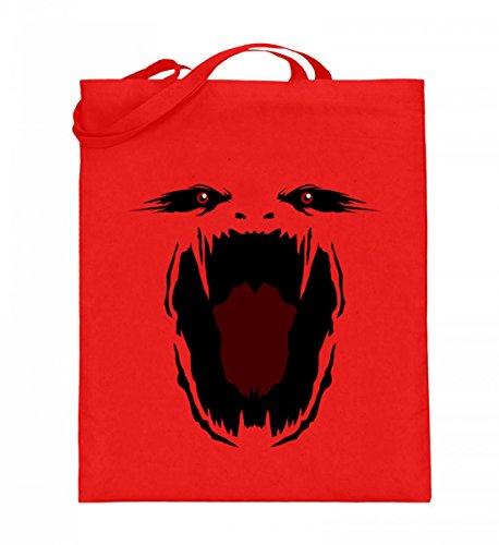 tel (mit langen Henkeln) - Monster Gesicht Gruselig Halloween - Schlichtes Und Witziges Design (Gruselige Puppe Kostüme Für Halloween)